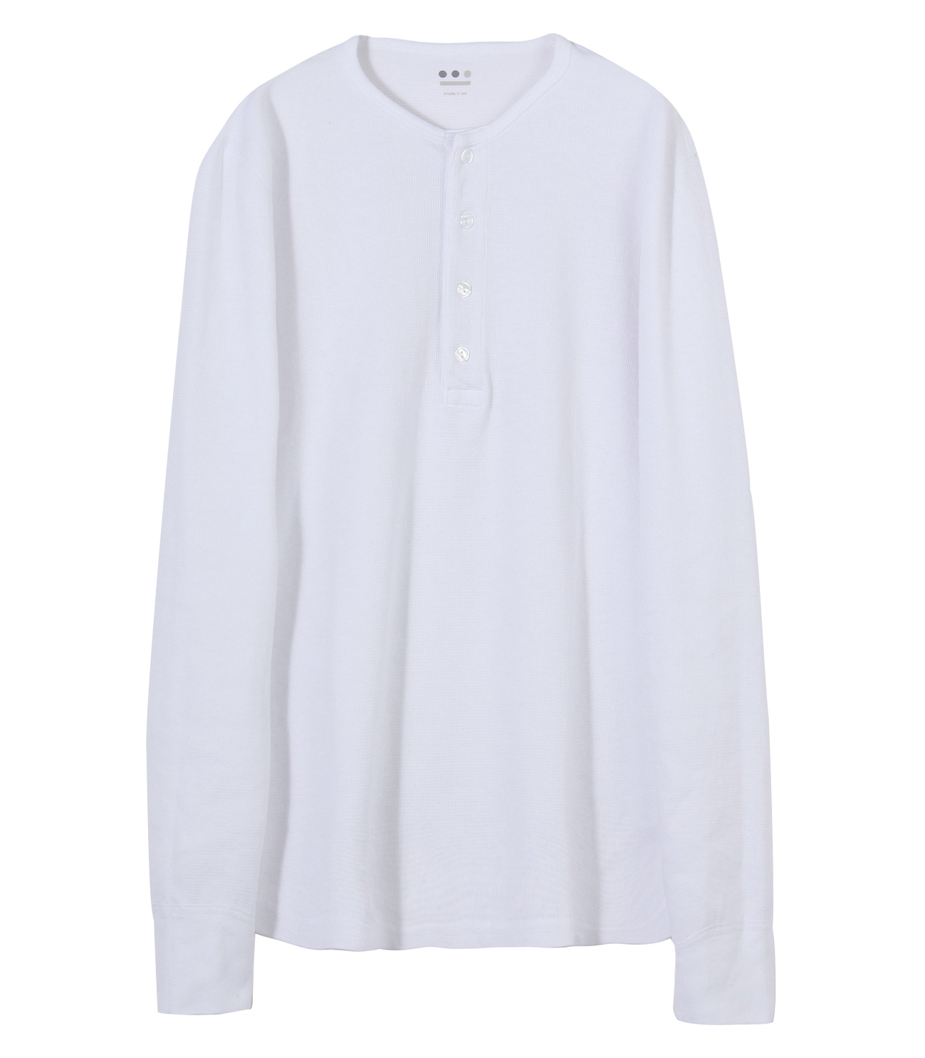 brushed thermal l/s henley 詳細画像 white 1