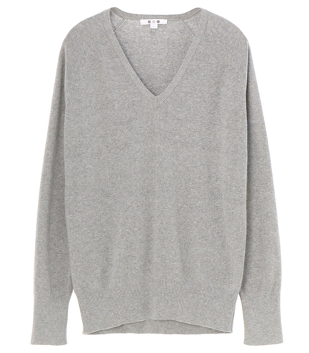 cotton melange l/s v-neck