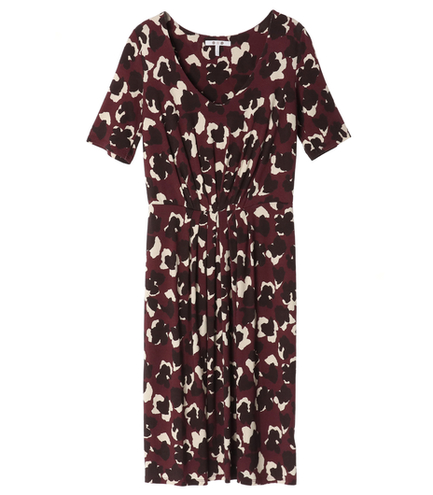 burgundy animal print dress