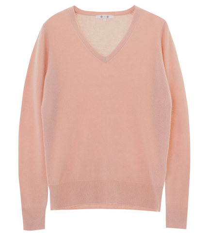 washable cashmere l/s v-neck