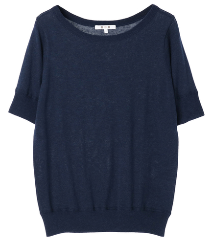 cotton melange s/s boat neck top
