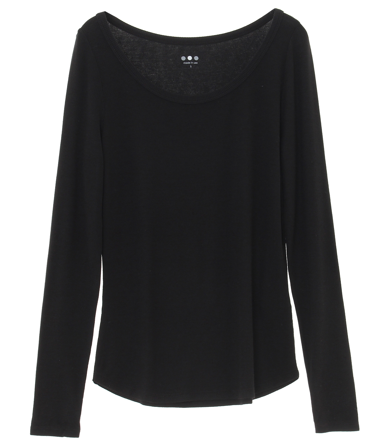 viscose rib l/s open neck 詳細画像 black 1