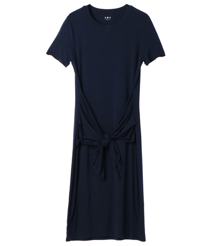 refined jersey tie front dress