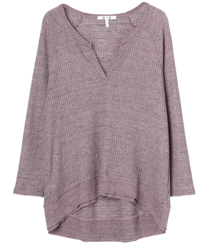 chunky heather thermal 3/4slvtop