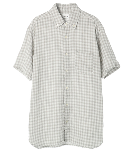 men's double gauze plaidshirt