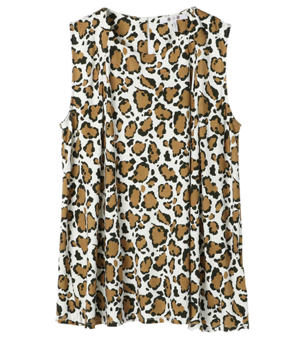 abstract leopard print slv top
