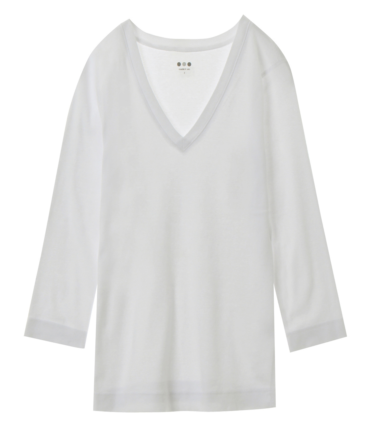 cotton knits 3/4 v-neck nicole 詳細画像 white 1