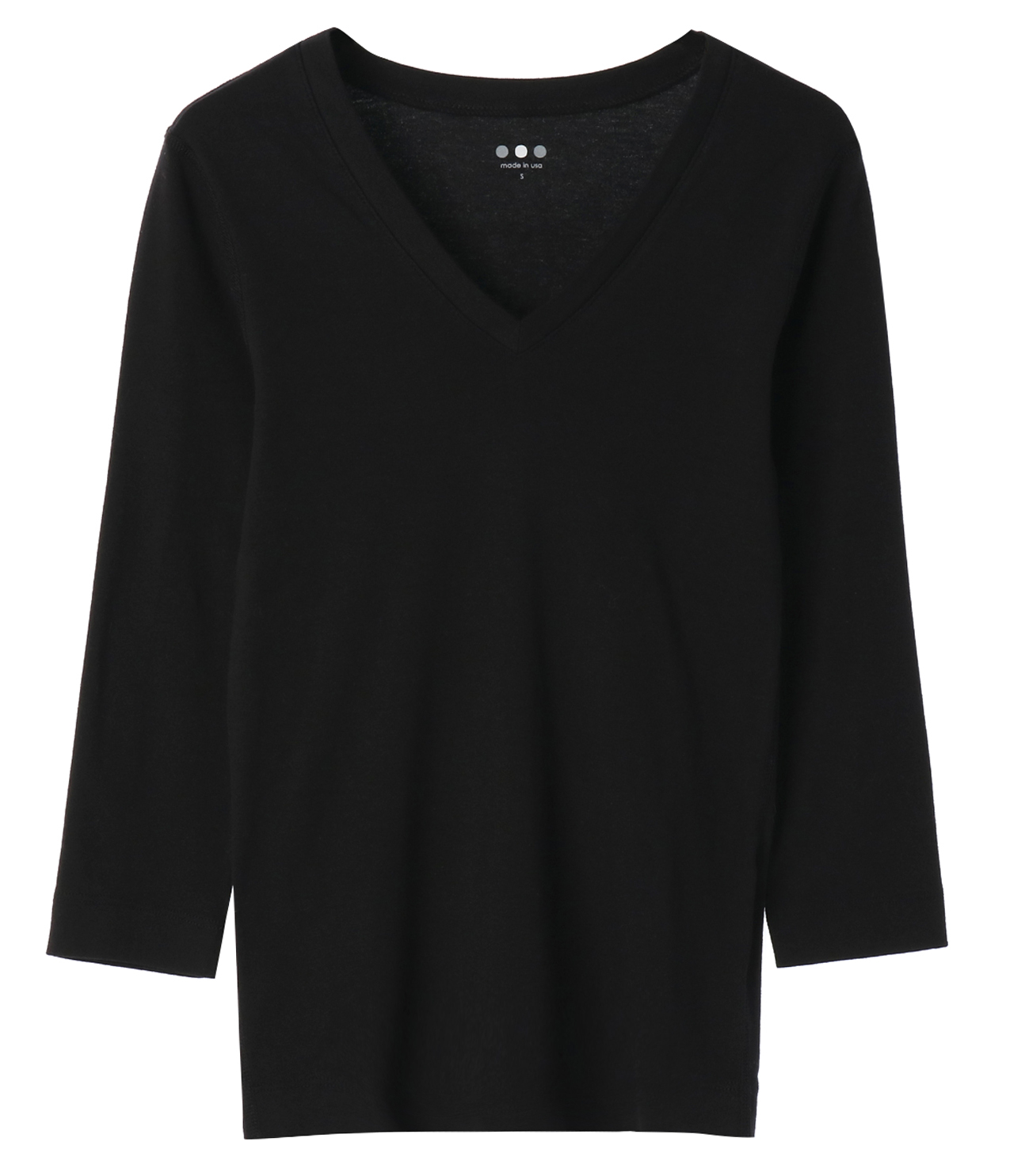 cotton knits 3/4 v-neck nicole 詳細画像 black 1