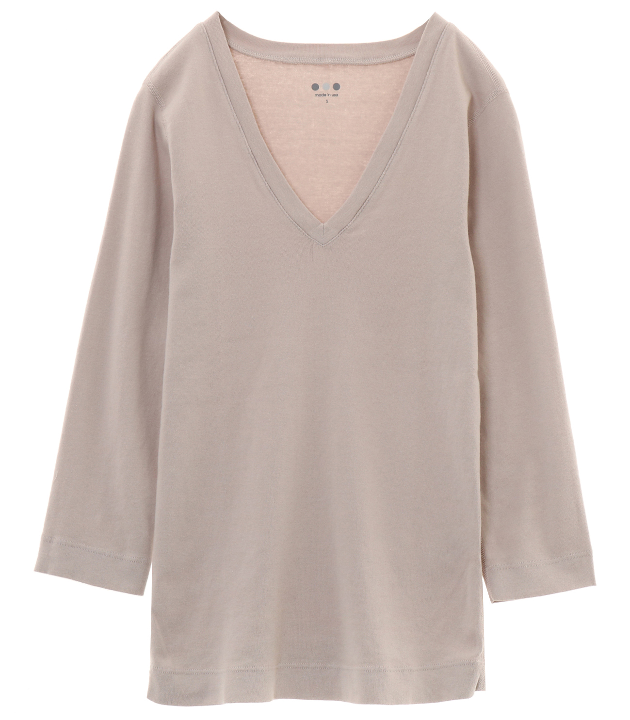 cotton knits 3/4 v-neck nicole 詳細画像 light stone 1