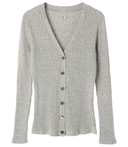 wide rib v neck cardigan