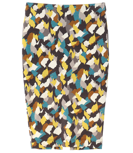 collage print pencil skirt