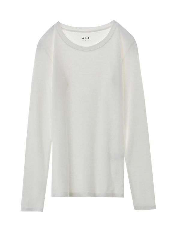 cotton knit l/s crew neck tee
