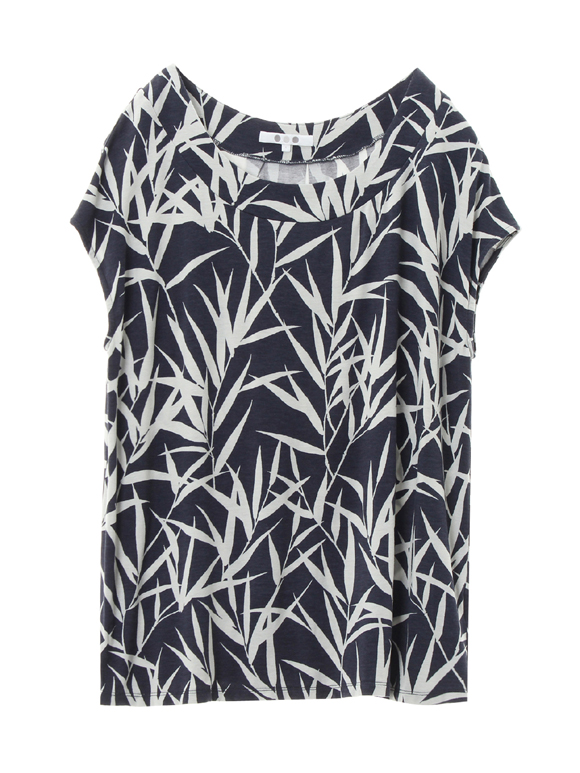 bamboo print top with back pleat