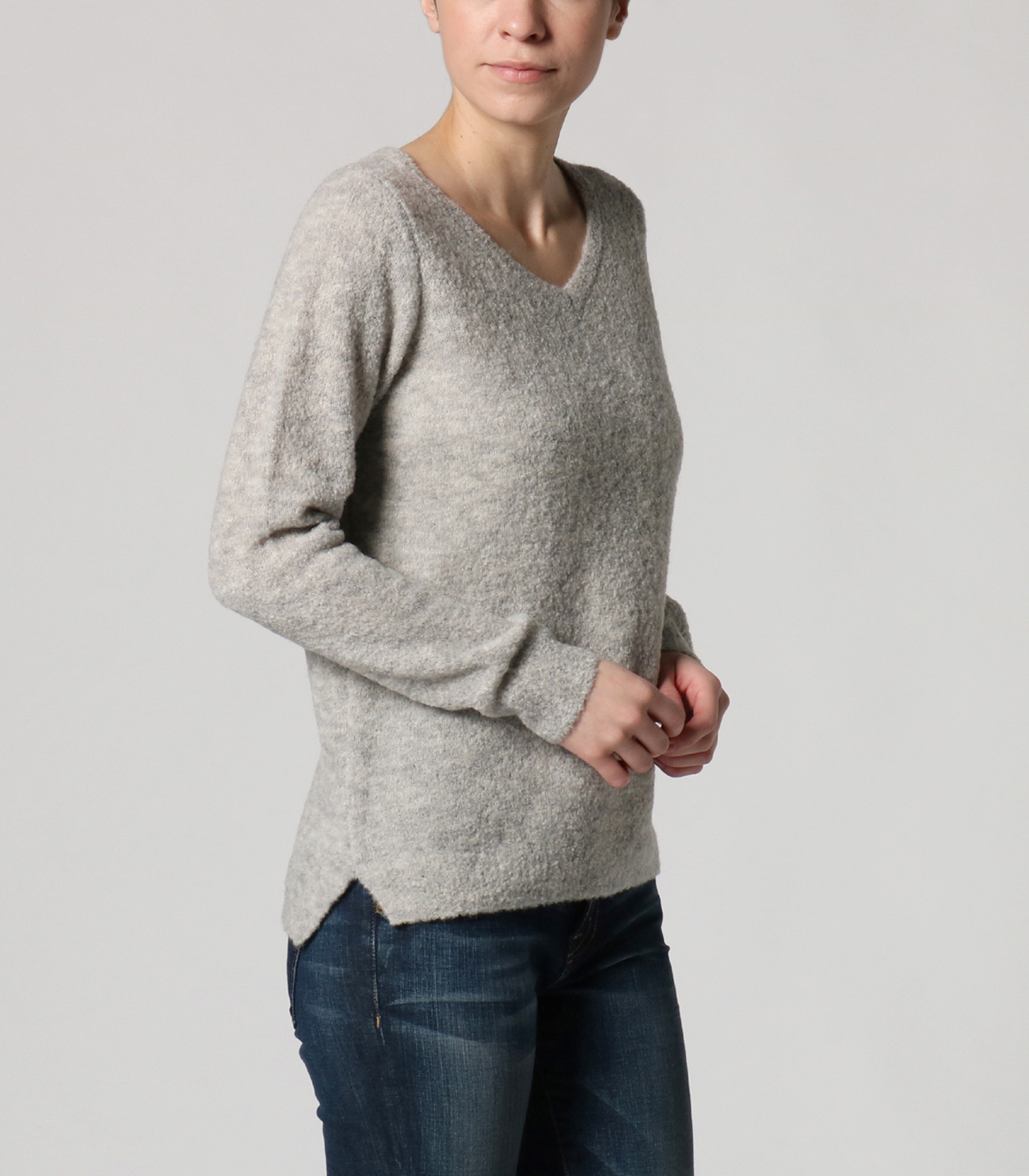 alpaca mixed boucle v neck pull 詳細画像 navy 6