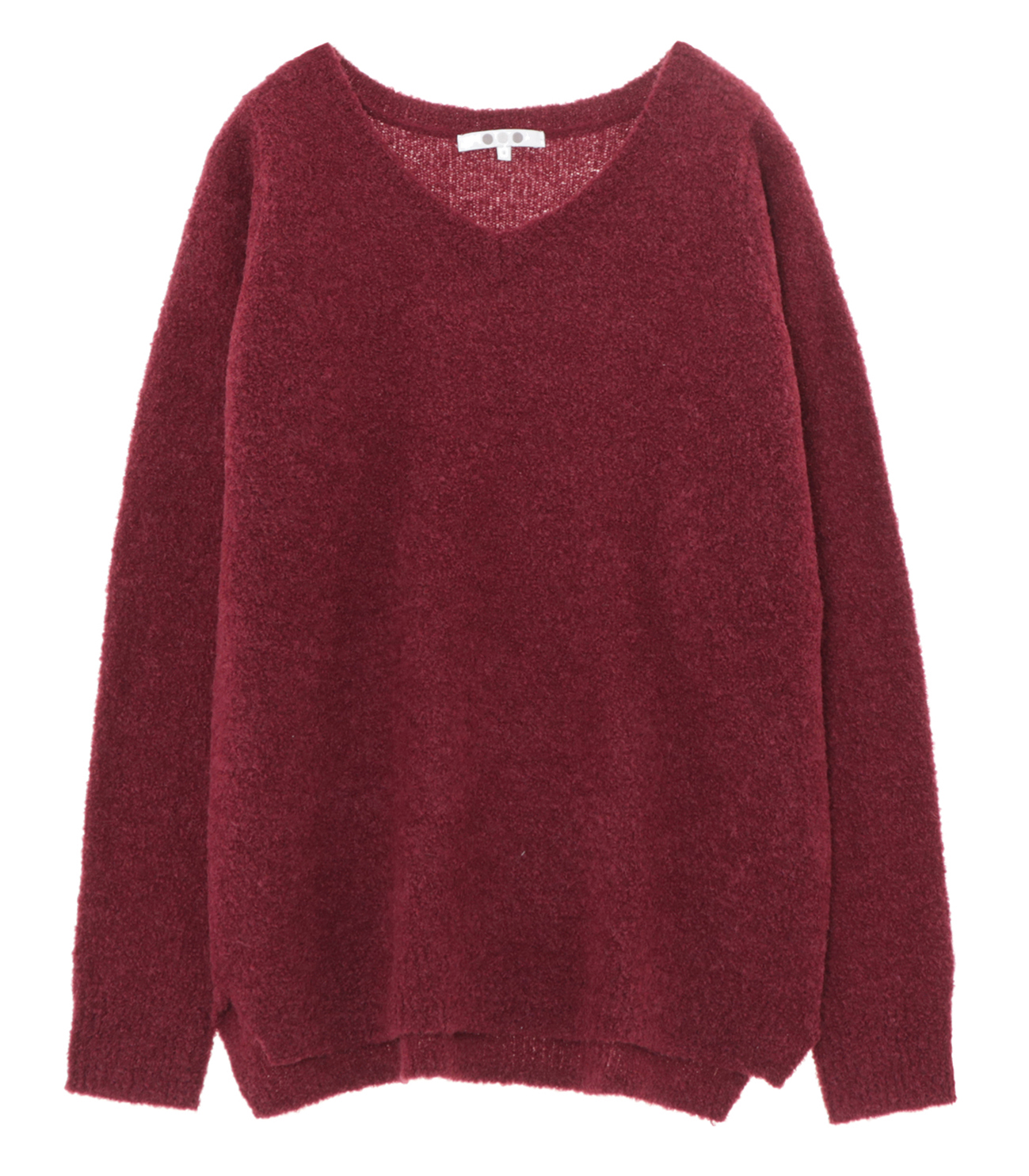 alpaca mixed boucle v neck pull 詳細画像 burgandy 1