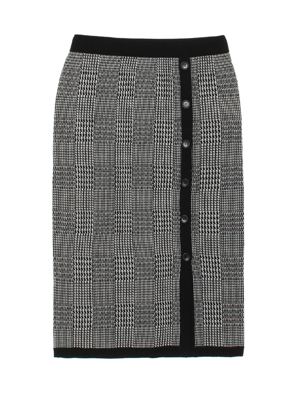 glen check sweater slit skirt