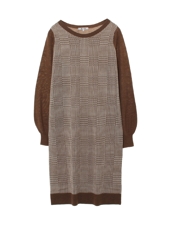 glen check sweater l/s dress
