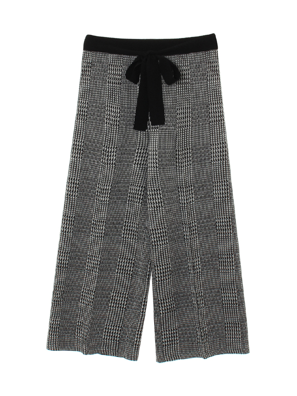 glen check sweater wide pant
