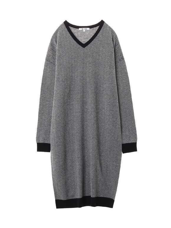Herringbone l/s dress