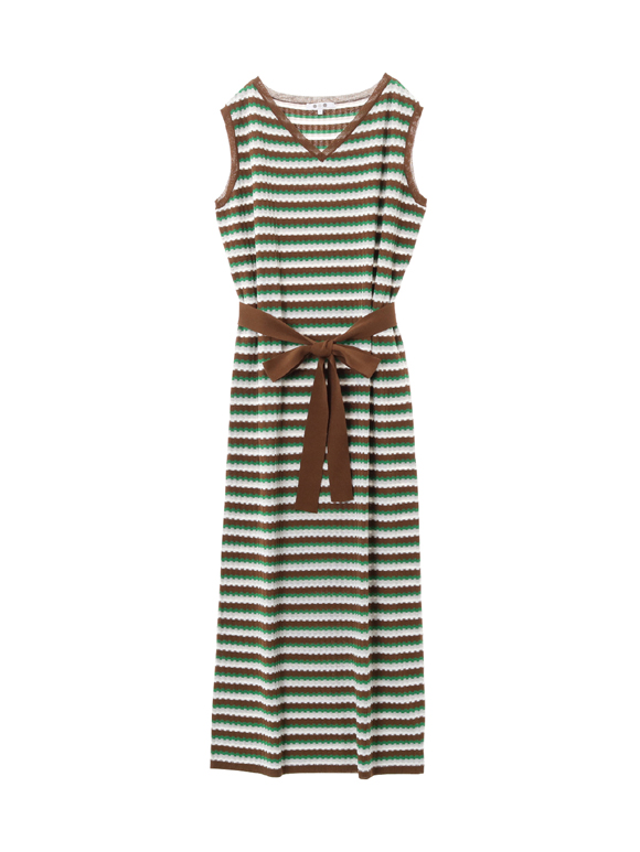 stretchsweater striped longdress