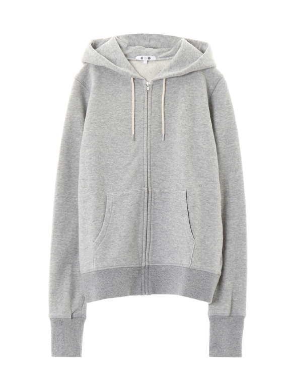 sueded terry l/s zip up hoody