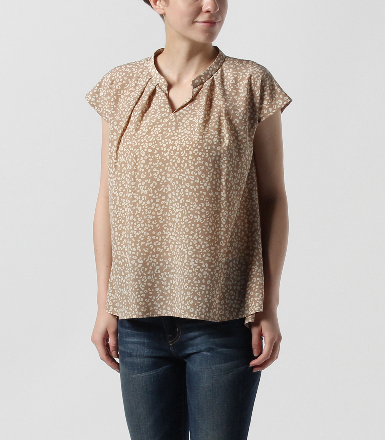 small leopard print french slv t 詳細画像 beige 6