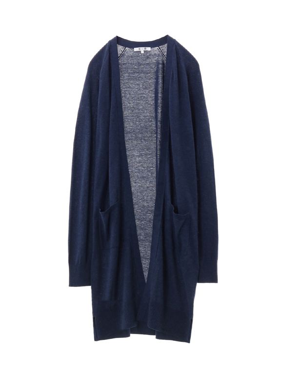 cotton melange l/s open cardigan