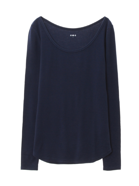 viscose rib l/s open neck