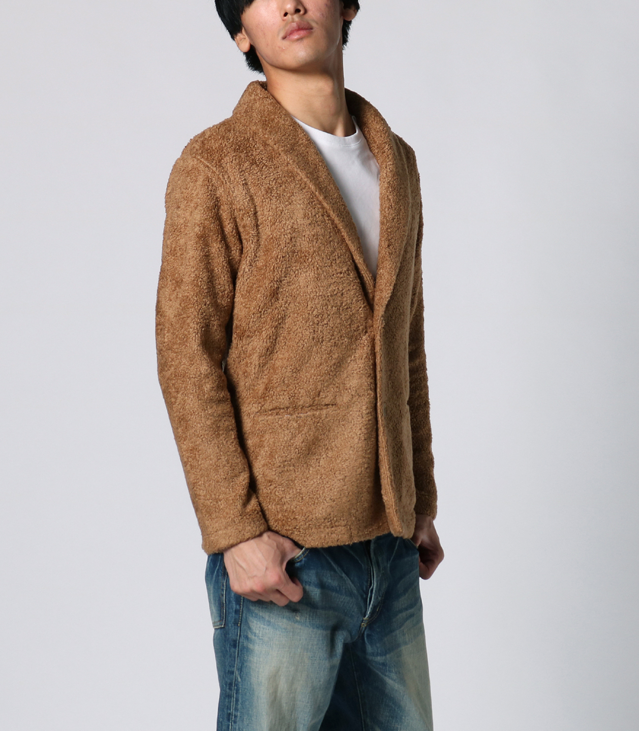 men's light boa shawl collar cardigan 詳細画像 camel 6