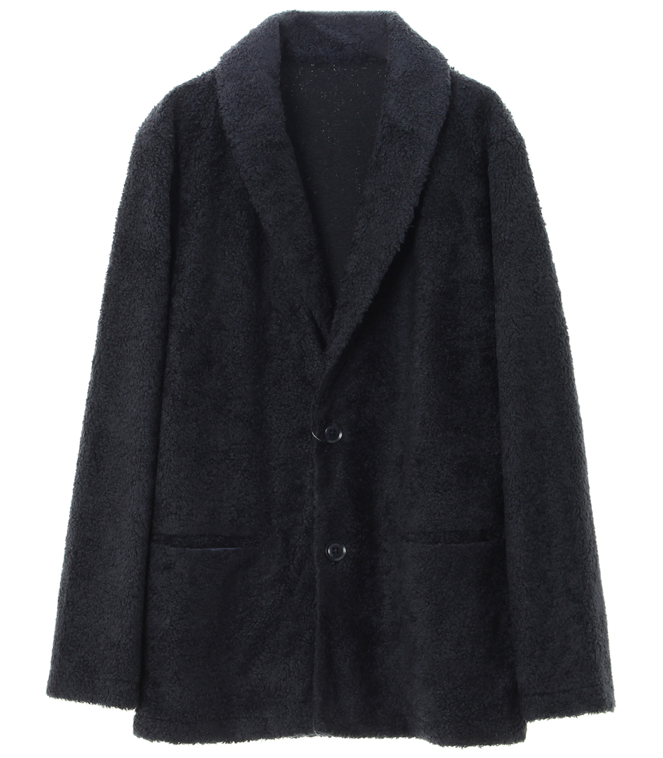 men's light boa shawl collar cardigan 詳細画像 black 1