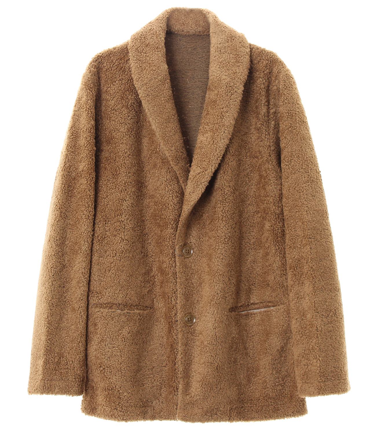 men's light boa shawl collar cardigan 詳細画像 camel 1