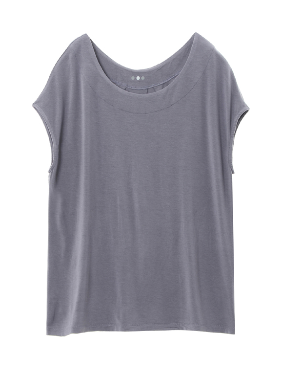 refined jersey top with back detall