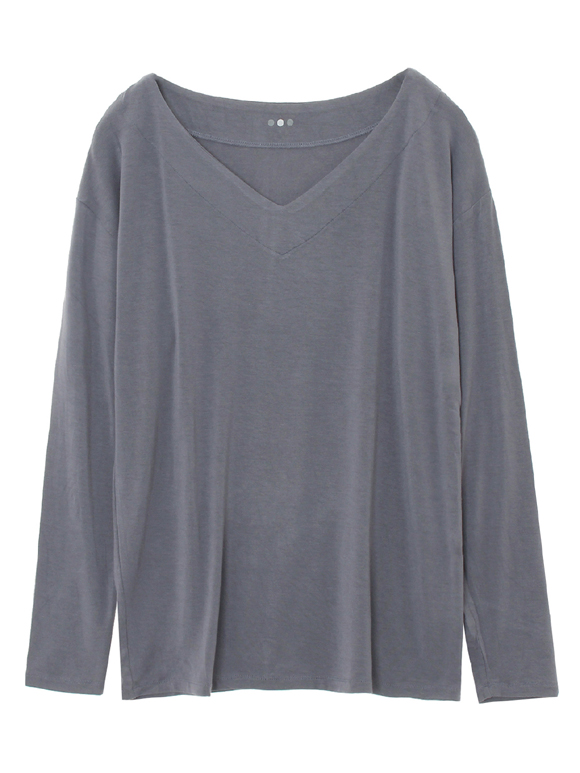 refined jersey l/s vneck top