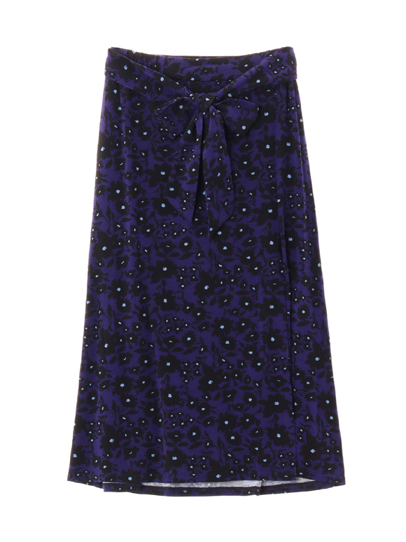 purple flower print tuck skirt