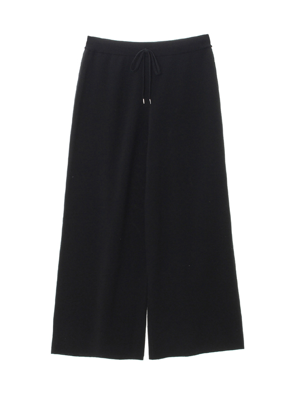 Smooth wool wide pant