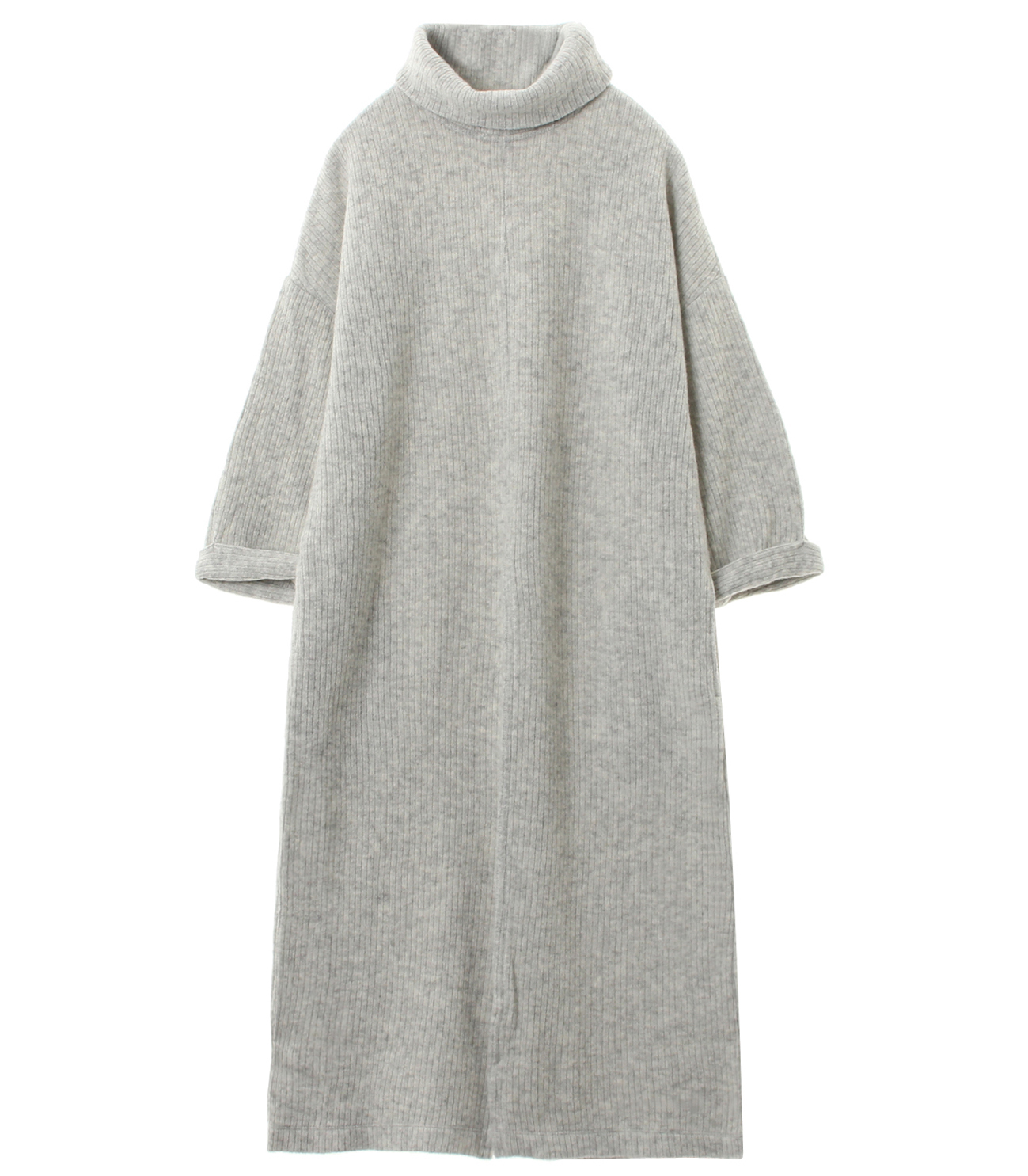 double faced rib sweater tunic t 詳細画像 hetaher grey 1
