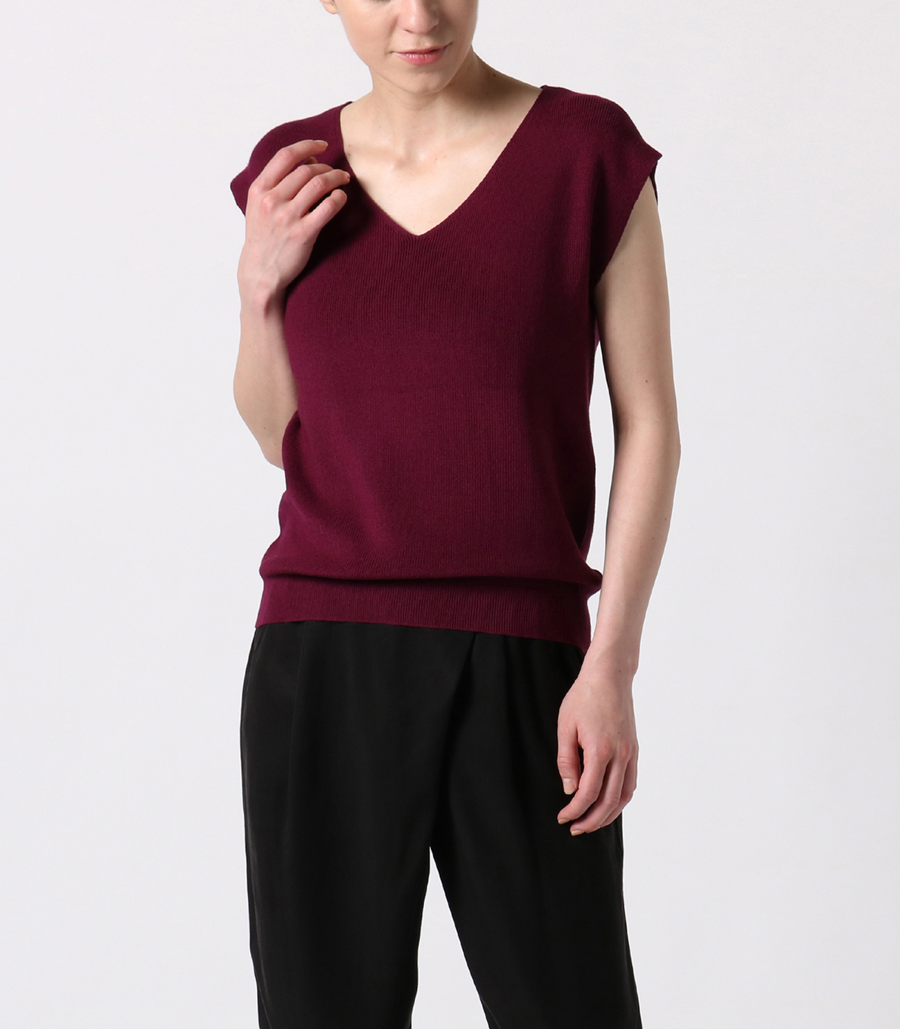 outlast sweater sleeveless vneck 詳細画像 purple 6