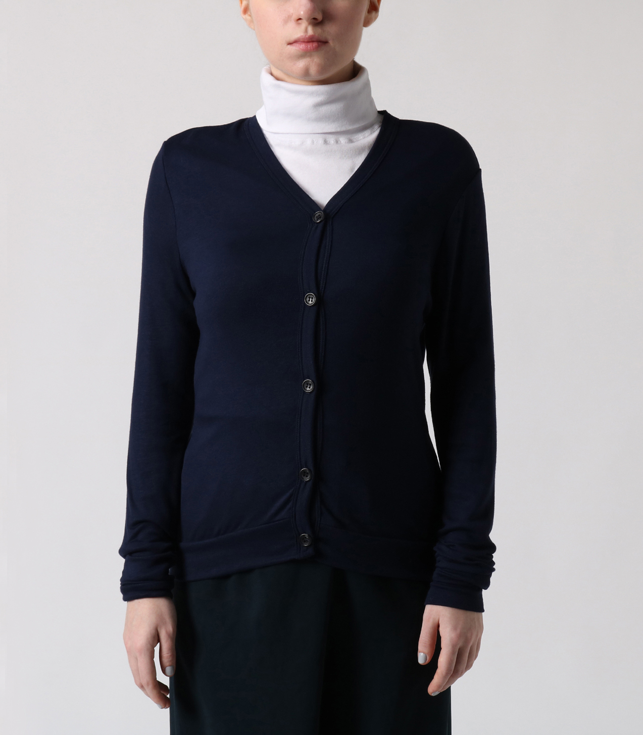 luxe rib button up cardigan 詳細画像 night iris 2