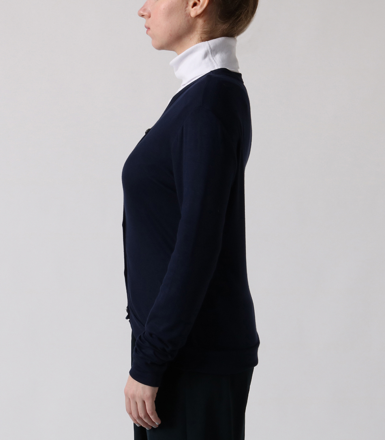luxe rib button up cardigan 詳細画像 night iris 3