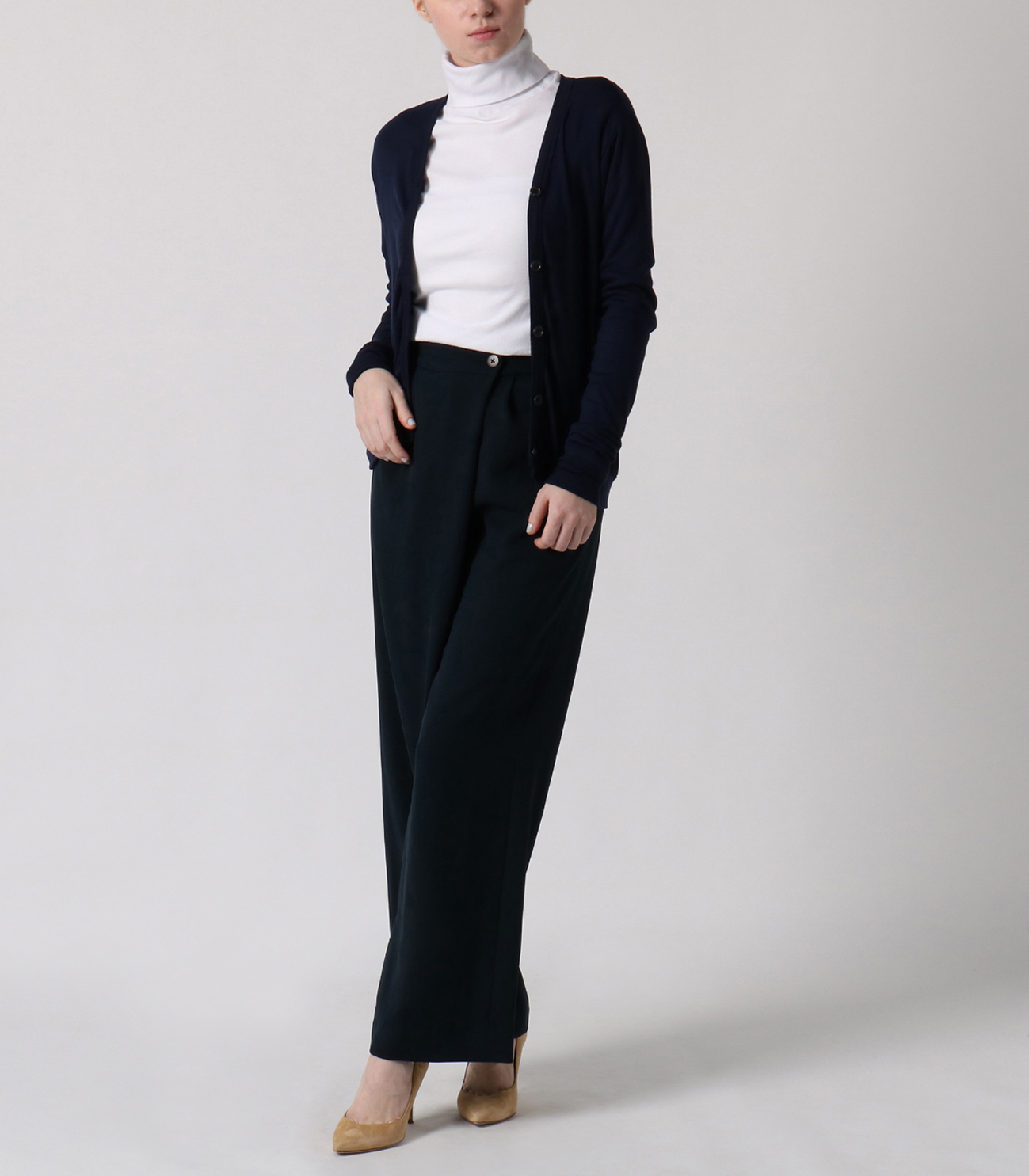 luxe rib button up cardigan 詳細画像 night iris 6