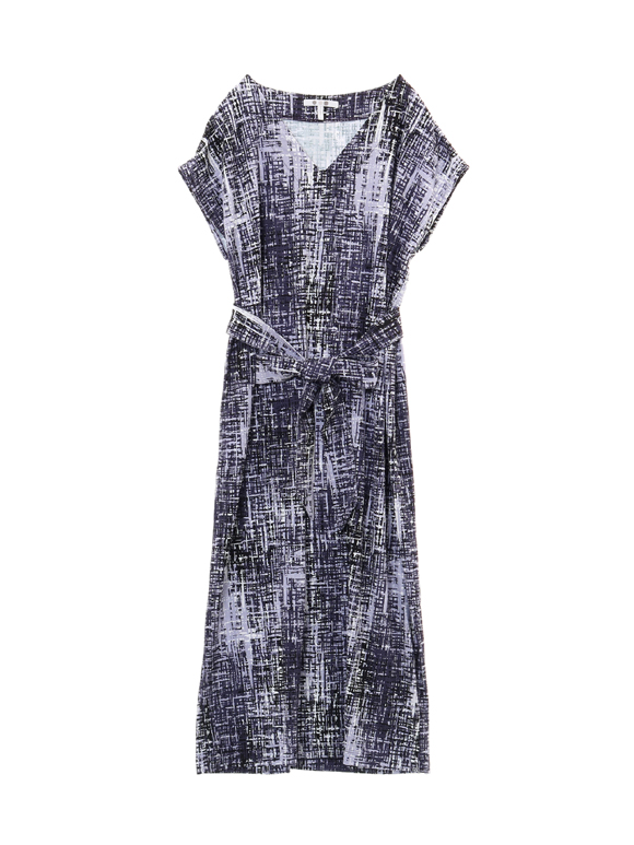 lavender plaid s/s ribbon dress