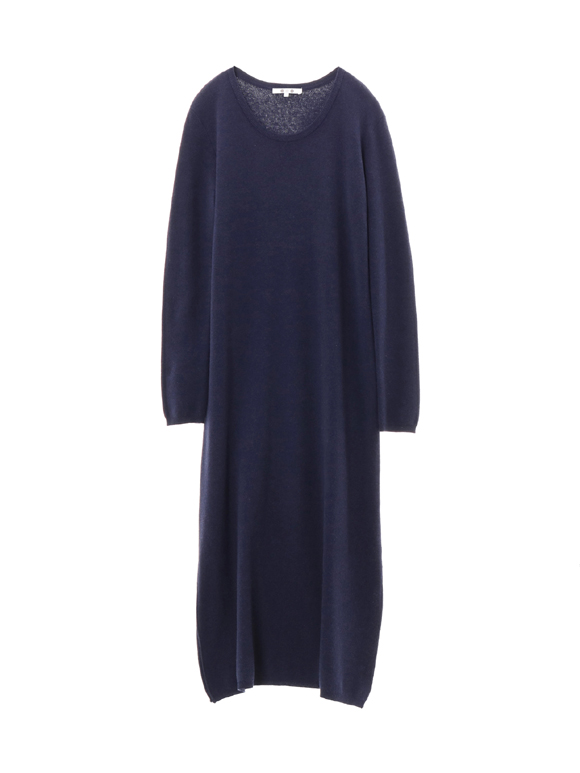cotton melange l/s long dress