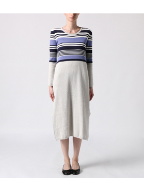 cotton melange l/s long dress 詳細画像