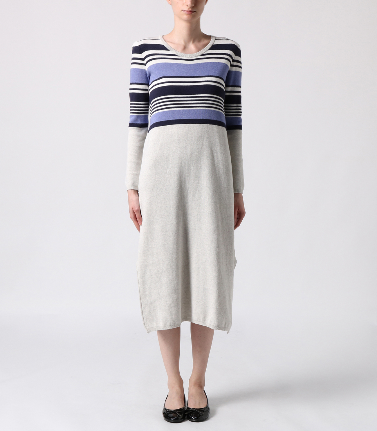 cotton melange l/s long dress 詳細画像 ash multi 2