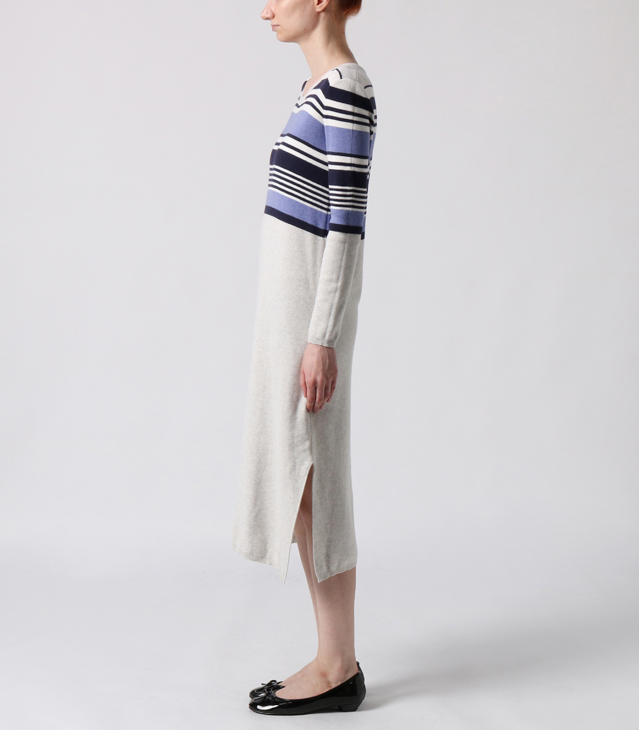 cotton melange l/s long dress 詳細画像 ash multi 3
