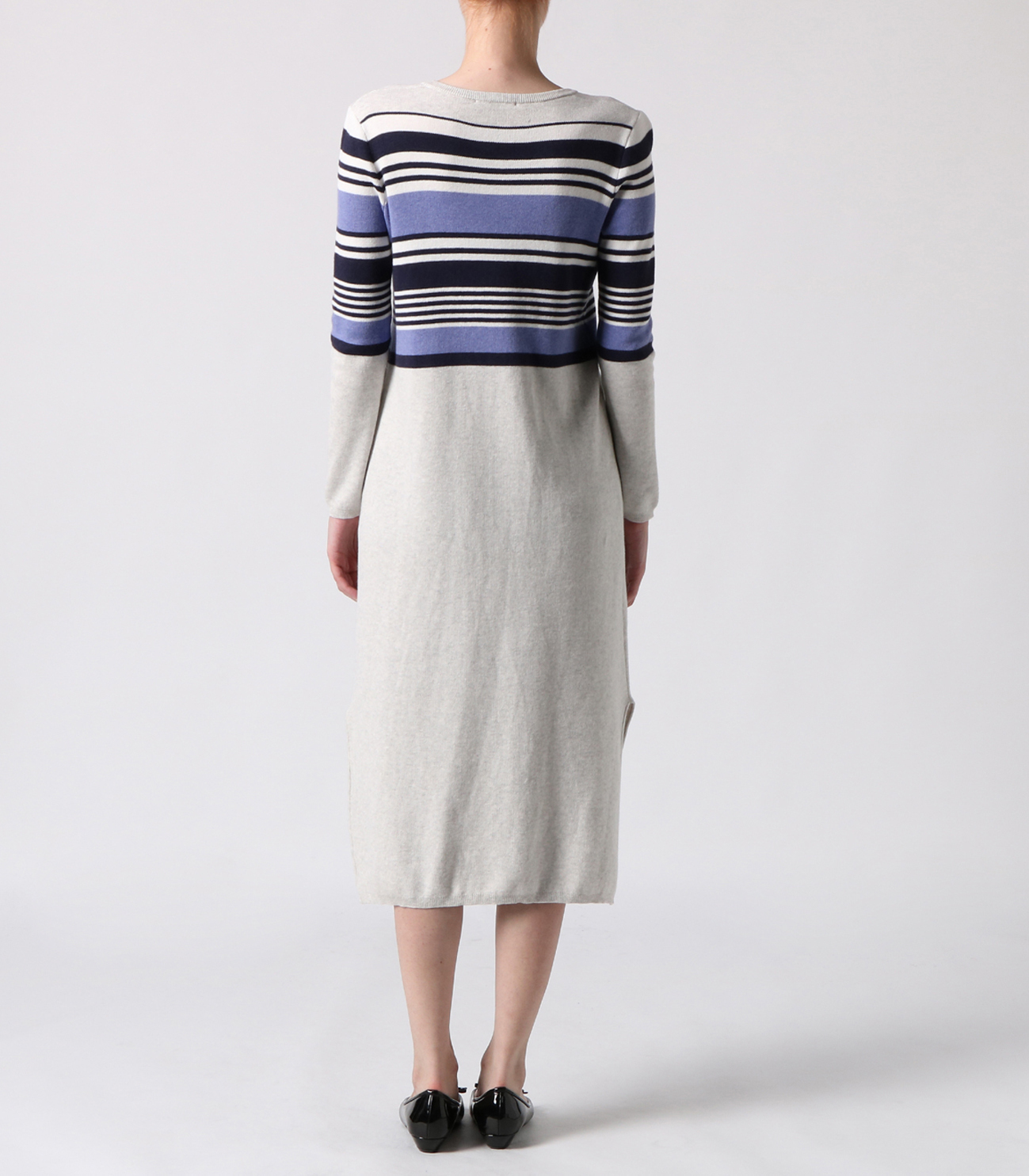 cotton melange l/s long dress 詳細画像 ash multi 4