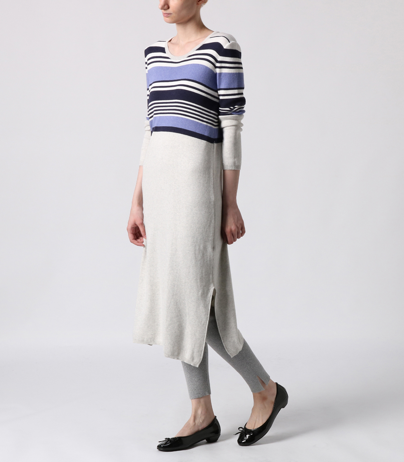 cotton melange l/s long dress 詳細画像 ash multi 6