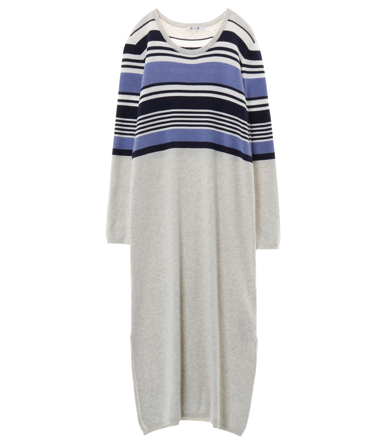 cotton melange l/s long dress 詳細画像 ash multi 1