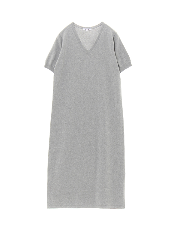 cotton melange s/s long dress