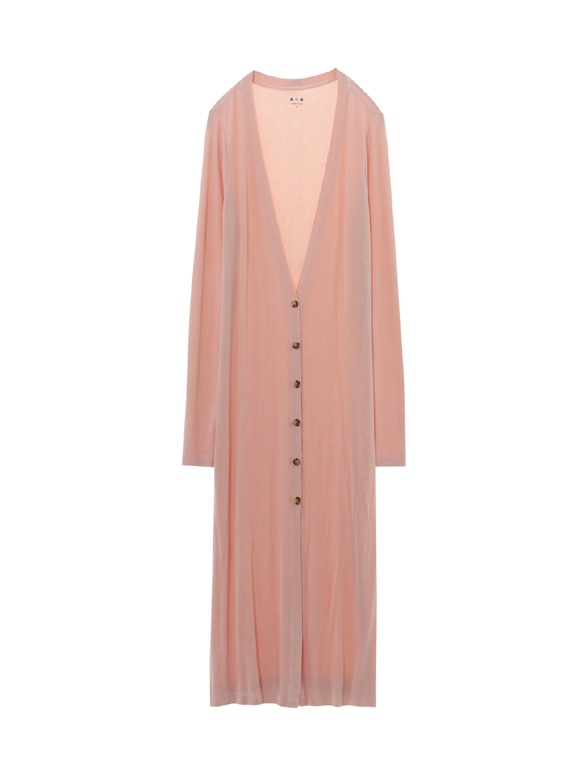 viscose rib long cardigan w/slit